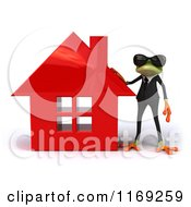 Clipart Of A Business Frog Wearing Sunglasses And Standing By A Red House Royalty Free CGI Illustration