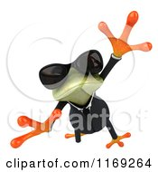 Clipart Of A Business Frog Wearing Sunglasses And Leaping 2 Royalty Free CGI Illustration by Julos