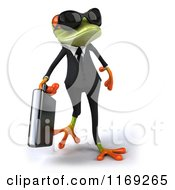 Clipart Of A Business Frog Wearing Sunglasses Carrying A Briefcase Royalty Free CGI Illustration