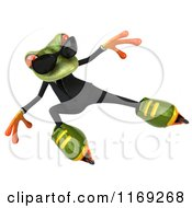 Clipart Of A Business Frog Wearing Sunglasses And Roller Blading Royalty Free CGI Illustration