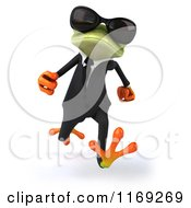 Clipart Of A Business Frog Wearing Sunglasses And Running Royalty Free CGI Illustration