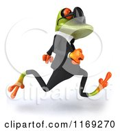 Clipart Of A Business Frog Wearing Sunglasses And Running 2 Royalty Free CGI Illustration