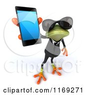 Clipart Of A Business Frog Wearing Sunglasses And Holding Out A Smart Phone Royalty Free CGI Illustration