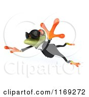 Clipart Of A Business Frog Wearing Sunglasses And Leaping 3 Royalty Free CGI Illustration