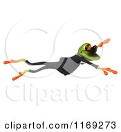 Clipart Of A Business Frog Wearing Sunglasses And Leaping Royalty Free CGI Illustration