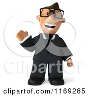 Clipart Of A 3d Waving Business Toon Guy With Glasses Royalty Free CGI Illustration