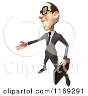 Clipart Of A 3d White Businessman Reaching Out To Shake Hands 4 Royalty Free CGI Illustration