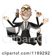 Clipart Of A 3d Stressed White Businessman Sitting On The Floor And Multitasking Royalty Free CGI Illustration