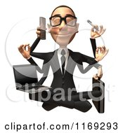 Clipart Of A 3d Happy White Businessman Sitting On The Floor And Multitasking Royalty Free CGI Illustration