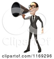 Clipart Of A 3d White Businessman Using A Megaphone Royalty Free CGI Illustration