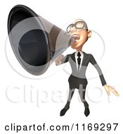 Clipart Of A 3d White Businessman Using A Megaphone 2 Royalty Free CGI Illustration