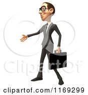 Clipart Of A 3d White Businessman Reaching Out To Shake Hands 2 Royalty Free CGI Illustration