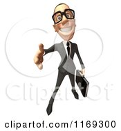 Clipart Of A 3d White Businessman Reaching Out To Shake Hands 3 Royalty Free CGI Illustration