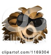 Clipart Of A 3d Hedgehog Wearing Sunglasses Over A Sign Royalty Free CGI Illustration by Julos