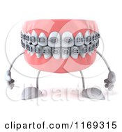 Clipart Of A 3d Metal Mouth Teeth Mascot With Braces Royalty Free CGI Illustration