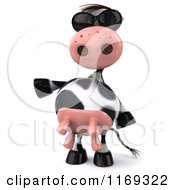 Clipart Of A 3d Presenting Cow Wearing Sunglasses Royalty Free CGI Illustration