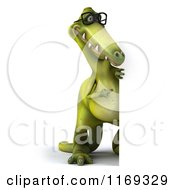 Clipart Of A 3d Dinosaur Wearing Glasses By A Sign Royalty Free CGI Illustration
