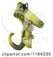 Clipart Of A 3d Dinosaur Wearing Glasses By A Sign 2 Royalty Free CGI Illustration