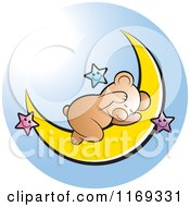 Cartoon Of A Cute Bear Sleeping On A Crescent Moon With Stars Over Blue Royalty Free Vector Clipart
