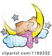 Cartoon Of A Cute Sleeping Bear On A Crescent Moon With Stars Royalty Free Vector Clipart