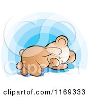 Cartoon Of A Cute Bear Sleeping Over Blue Royalty Free Vector Clipart