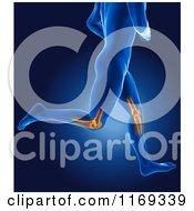 Clipart Of A 3d Blue Man Running With Highlighted Knee Joints Royalty Free CGI Illustration
