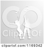 Clipart Of A Raised White Couple Dancing With Music Notes On Gray Royalty Free Vector Illustration