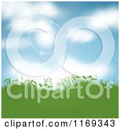 Clipart Of A Background Of Sky And Flares Over Green Hills With Spring Foliage Royalty Free Vector Illustration