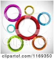 Clipart Of A Background Of Colorful Circles With Flares Royalty Free Vector Illustration by KJ Pargeter
