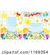 Cartoon Of Frames Of School Children With Flowers And Graph Paper Royalty Free Vector Clipart