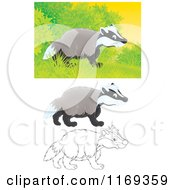 Cartoon Of A Wild Badger Near Shrubs With Color And Outlined Poses Royalty Free Clipart by Alex Bannykh
