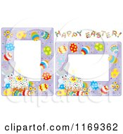 Cartoon Of Easter Bunny Cake And Egg Frames Royalty Free Vector Clipart