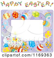 Cartoon Of A Bunny Cake And Egg Frame With Happy Easter Text Royalty Free Vector Clipart