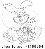 Cartoon Of An Outlined Easter Bunny Admiring Eggs In A Basket Royalty Free Vector Clipart