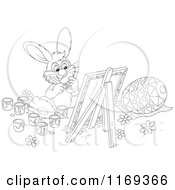 Cartoon Of An Outlined Easter Bunny Painting An Egg On A Canvas Royalty Free Vector Clipart