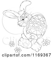 Cartoon Of An Outlined Easter Bunny Carrying A Large Egg Royalty Free Vector Clipart