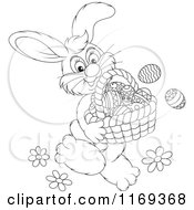 Cartoon Of An Outlined Easter Bunny Carrying A Basket Of Eggs Royalty Free Vector Clipart