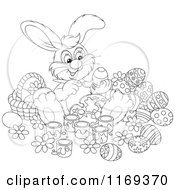 Cartoon Of An Outlined Easter Bunny Painting Eggs By A Basket Royalty Free Vector Clipart