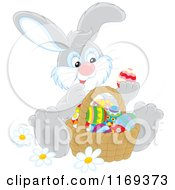 Cartoon Of An Easter Bunny Admiring Eggs In A Basket Royalty Free Vector Clipart
