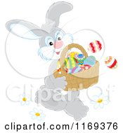 Cartoon Of An Easter Bunny Carrying A Basket Of Eggs Royalty Free Vector Clipart