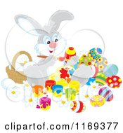 Cartoon Of An Easter Bunny Painting Eggs By A Basket Royalty Free Vector Clipart