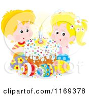 Cartoon Of Cute Children With An Easter Cake And Eggs Royalty Free Vector Clipart by Alex Bannykh