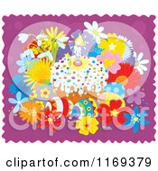 Cartoon Of Easter Cake And Eggs With Flowers On Purple And White Royalty Free Vector Clipart by Alex Bannykh