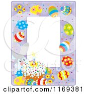 Cartoon Of An Easter Bunny Cake And Egg Frame Royalty Free Vector Clipart