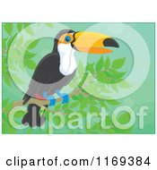 Cartoon Of A Toucan Bird Perched In A Green Tree Royalty Free Vector Clipart by Alex Bannykh