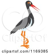 Cartoon Of A Standing Black Stork Bird Royalty Free Vector Clipart by Alex Bannykh