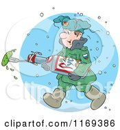Cartoon Of A Soldier Marching Through The Snow With A Pickle Royalty Free Vector Clipart by Alex Bannykh