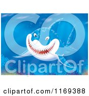 Cartoon Of A Grinning Shark Swimming In Coral Waters Royalty Free Clipart