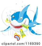 Cartoon Of A Grinning Shark Eating Snorkel Gear Royalty Free Vector Clipart