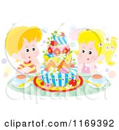 Cartoon Of A Boy And Girl Staring At A Decorative Cake Royalty Free Vector Clipart by Alex Bannykh